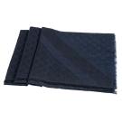 GUCCI 經典GG緹花線條羊毛混絲斜紋雙色流蘇披巾/圍巾(深藍)