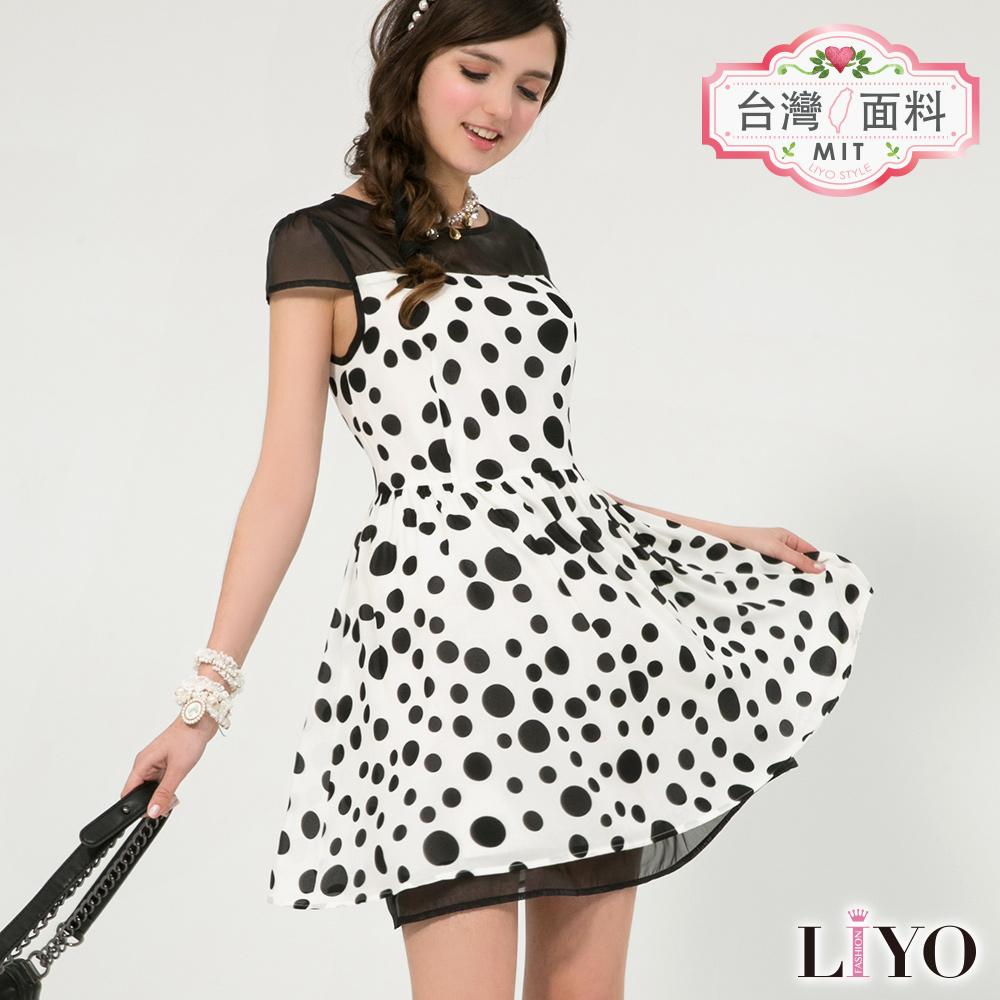LIYO理優MIT圓點印花洋裝(白)