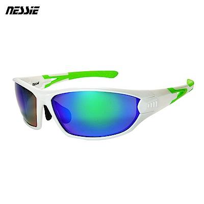 Nessie尼斯眼鏡 專業運動偏光太陽眼鏡-越野白綠