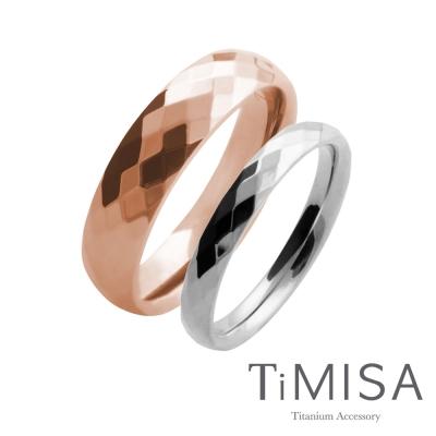 TiMISA《格緻真愛(寬玫瑰金+細)》純鈦對戒