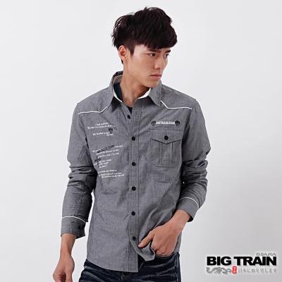 BIG TRAIN 素面印繡文字襯衫-男-灰黑