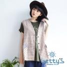 betty's貝蒂思 格紋拼接外搭背心(棕色)