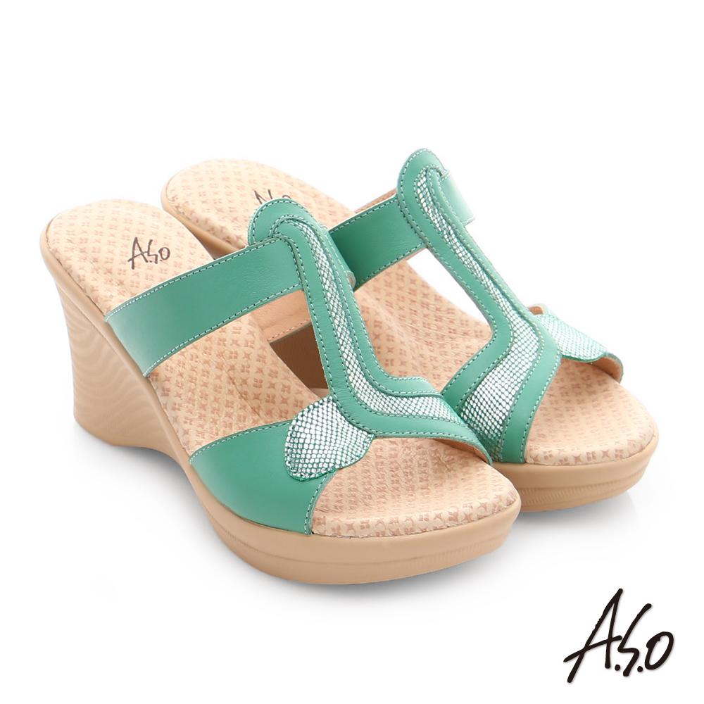 A.S.O 挺麗氣墊 全真皮寬楦圖騰氣墊楔型涼拖鞋 綠色