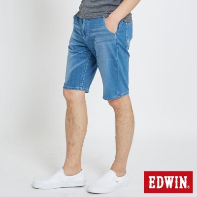 EDWIN 加大碼迦績褲JERSEY棉感短褲-男-石洗藍