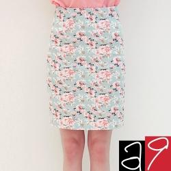 玫瑰花及膝窄裙(共二色)-a.9