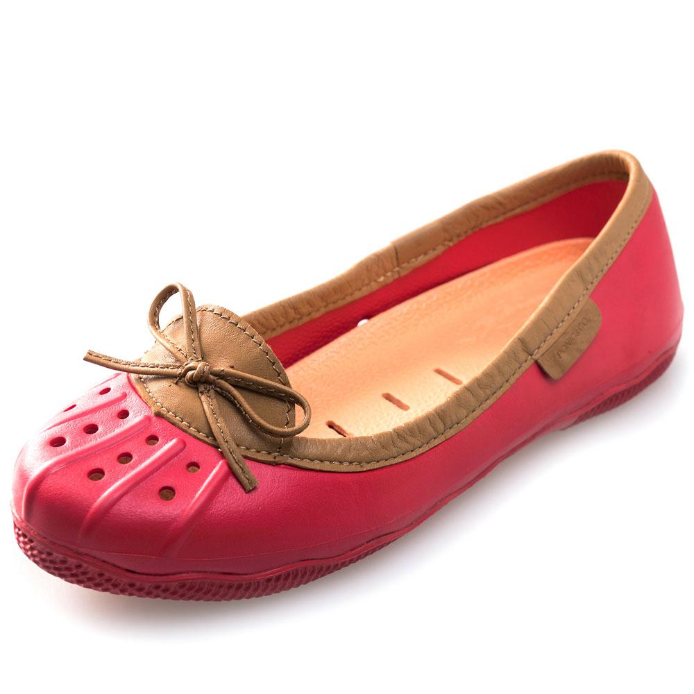 (女)Ponic&Co美國加州環保防水真皮滾邊娃娃鞋-紅色