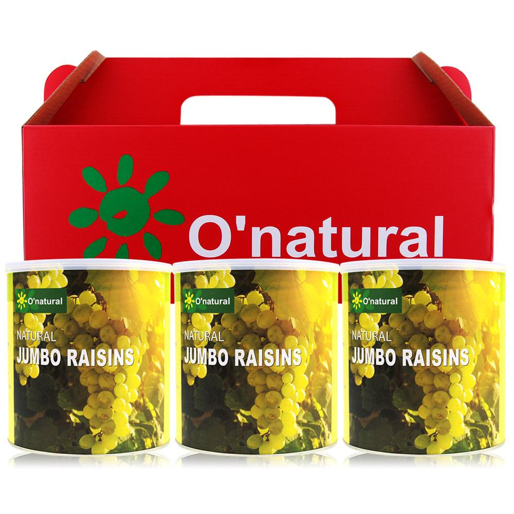 O-natural歐納丘 美國加州藤掛天然葡萄乾禮盒360gX3