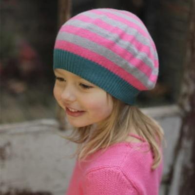 【 I Love Gorgeous 】粉灰條紋貝蕾帽(S/M)