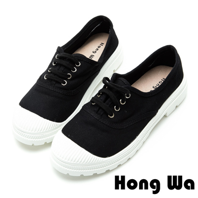 Hong Wa輕少女風帆布綁帶休閒便鞋-個性黑