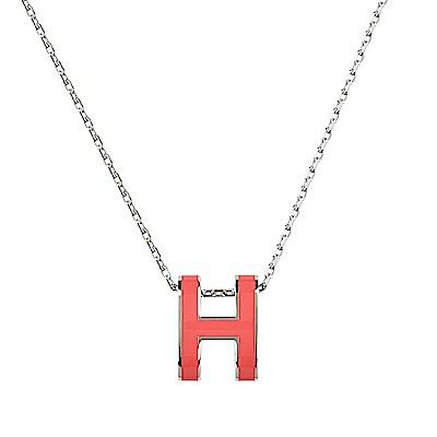 HERMES愛馬仕經典POP系列H字母立體簍空橢圓LOGO鎖骨項鍊(珊瑚紅X銀)