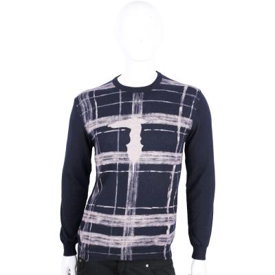 TRUSSARDI-JEANS 深藍色刷漆格紋長袖針織上衣