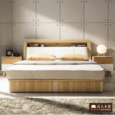 直人木業 WORLD實木明亮風5尺雙人抽屜床組(床底有2個收納抽屜)