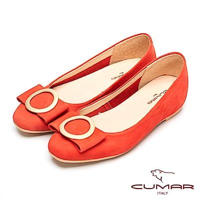 CUMAR時尚美人-搶眼裝飾隱藏增高平底鞋-桔色