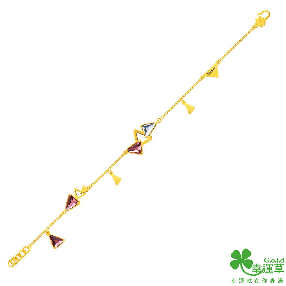 幸運草 三角遊戲黃金/水晶手鍊