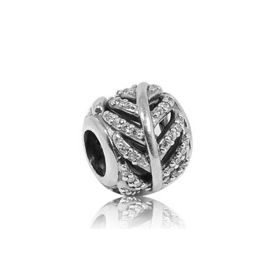 Pandora 潘朵拉 圓形鏤空鑲鋯羽毛 純銀墜飾 串珠