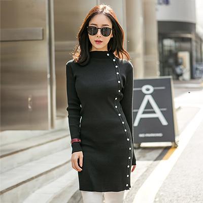 正韓 裝飾排釦羅紋針織長袖洋裝 (共三色)-N.C21
