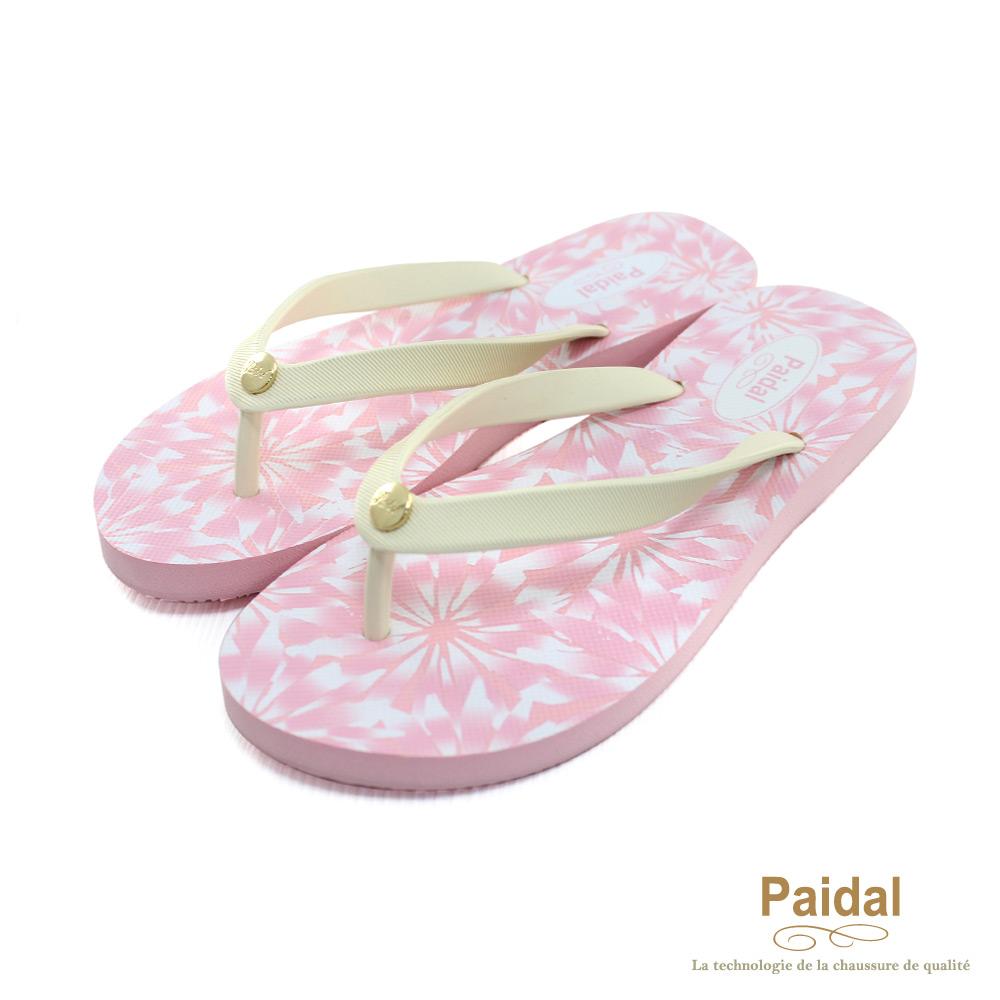Paidal 手繪風盛開花朵海灘拖鞋人字拖鞋-粉