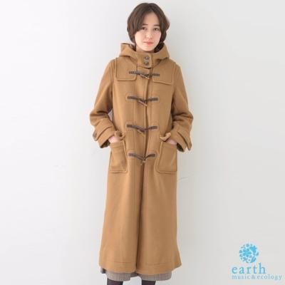 earth music 俐落長版牛角釦連帽外套/大衣