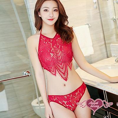 情趣內衣 愛語迷情 二件式蕾絲鏤空睡衣(紅F) AngelHoney天使霓裳
