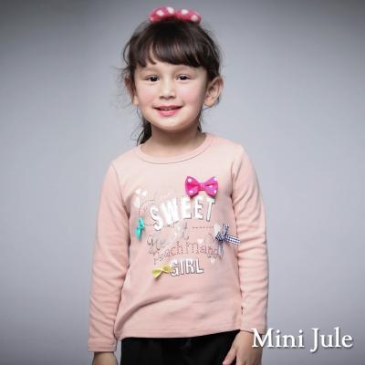 Mini Jule 童裝-上衣 彩色蝴蝶結字母圓領長袖棉T(粉)