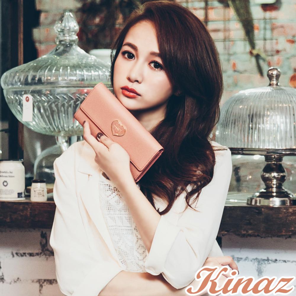 KINAZ - Best Love最愛巴黎系列~愛情絮語長夾-蜜桃粉紅