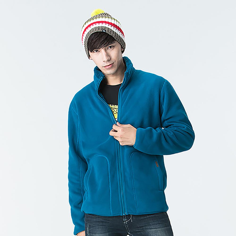 【SNOW FOX 雪狐】男款北極長絨毛雙面穿保暖透氣外套FC-71653磚藍/藍