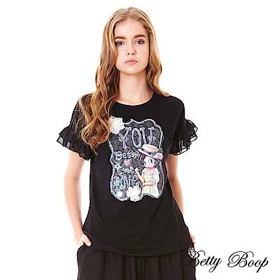 Betty Boop貝蒂 立體繡花膠印雪紡袖上衣(共兩色)