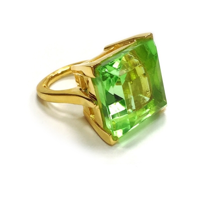 Kenneth Jay Lane 好萊塢巨星最愛 公主切割 橄欖綠水晶戒指鑲K金 附原廠盒