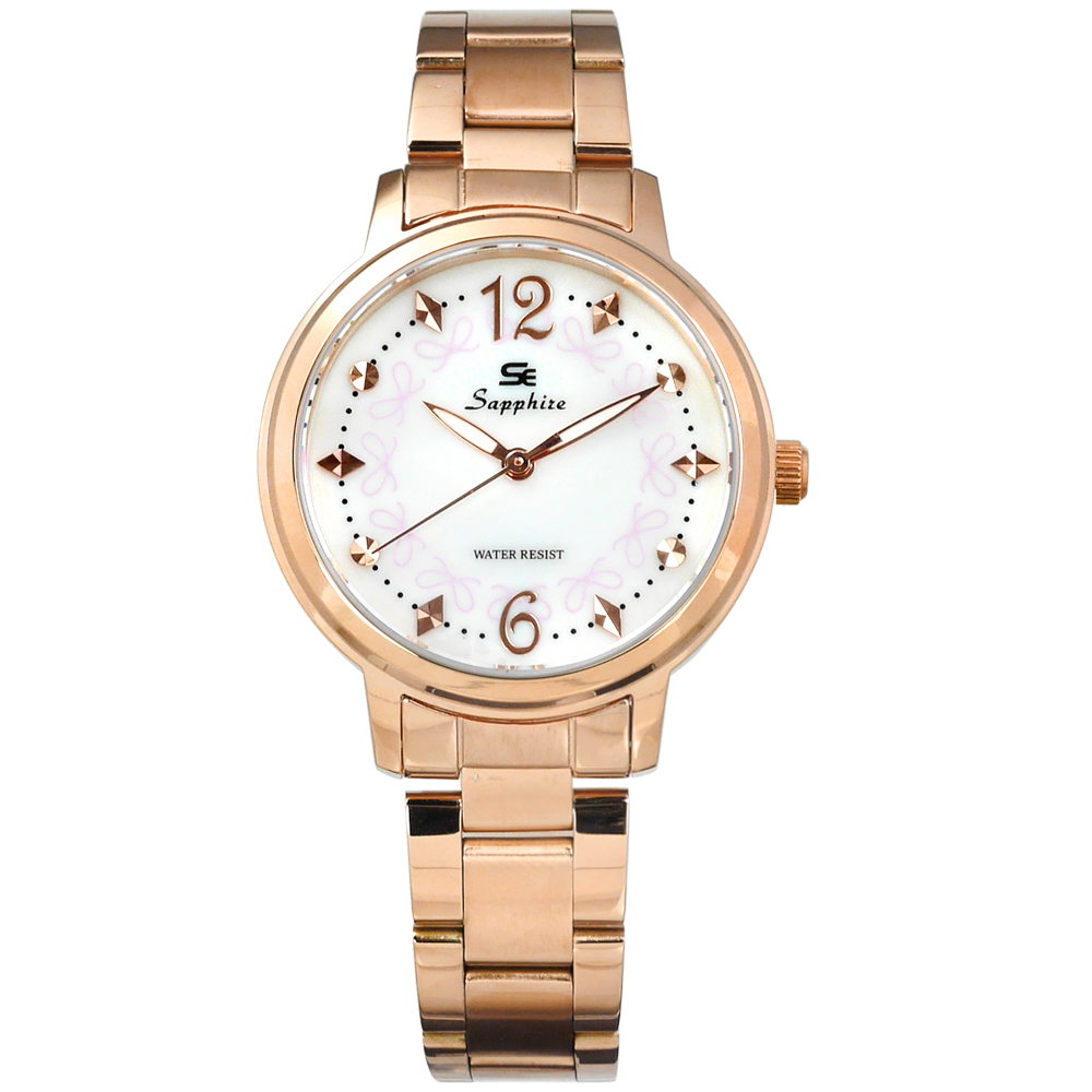 Sapphire 蝴蝶結晶鑽刻度藍寶石水晶玻璃不鏽鋼手錶-白x鍍玫瑰金/31mm