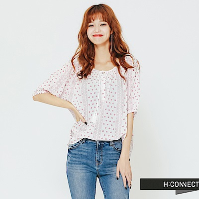 H:CONNECT 韓國品牌 女裝 - 民族風印花綁帶上衣-紅