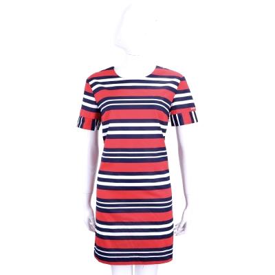 BLUGIRL-FOLIES 紅色藍白條紋棉質短袖洋裝