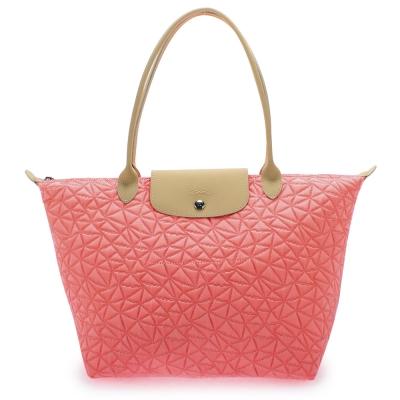 Longchamp Illusion 光感三角花紋中型水餃包(長把/珊瑚紅)