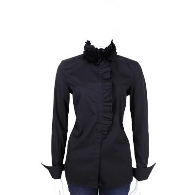 SCERVINO 黑色荷葉領造型長袖襯衫