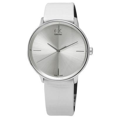 CK  Accent 極簡約瑞士機芯時尚皮革手錶 -銀x白/40mm