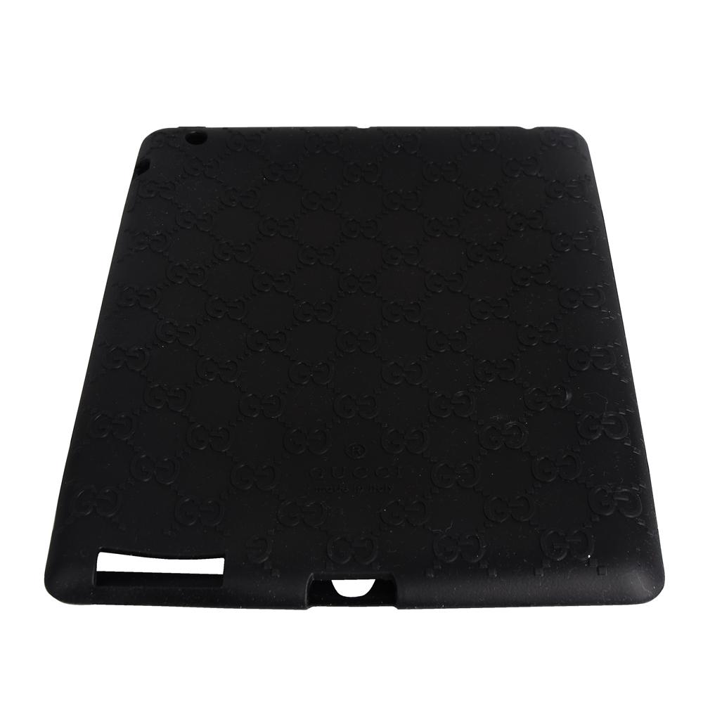 GUCCI 經典GG LOGO造型浮凸矽膠I pad套(黑)