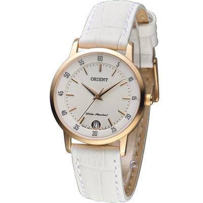 ORIENT 東方錶 美好年代時尚腕錶-白/白皮帶/31mm