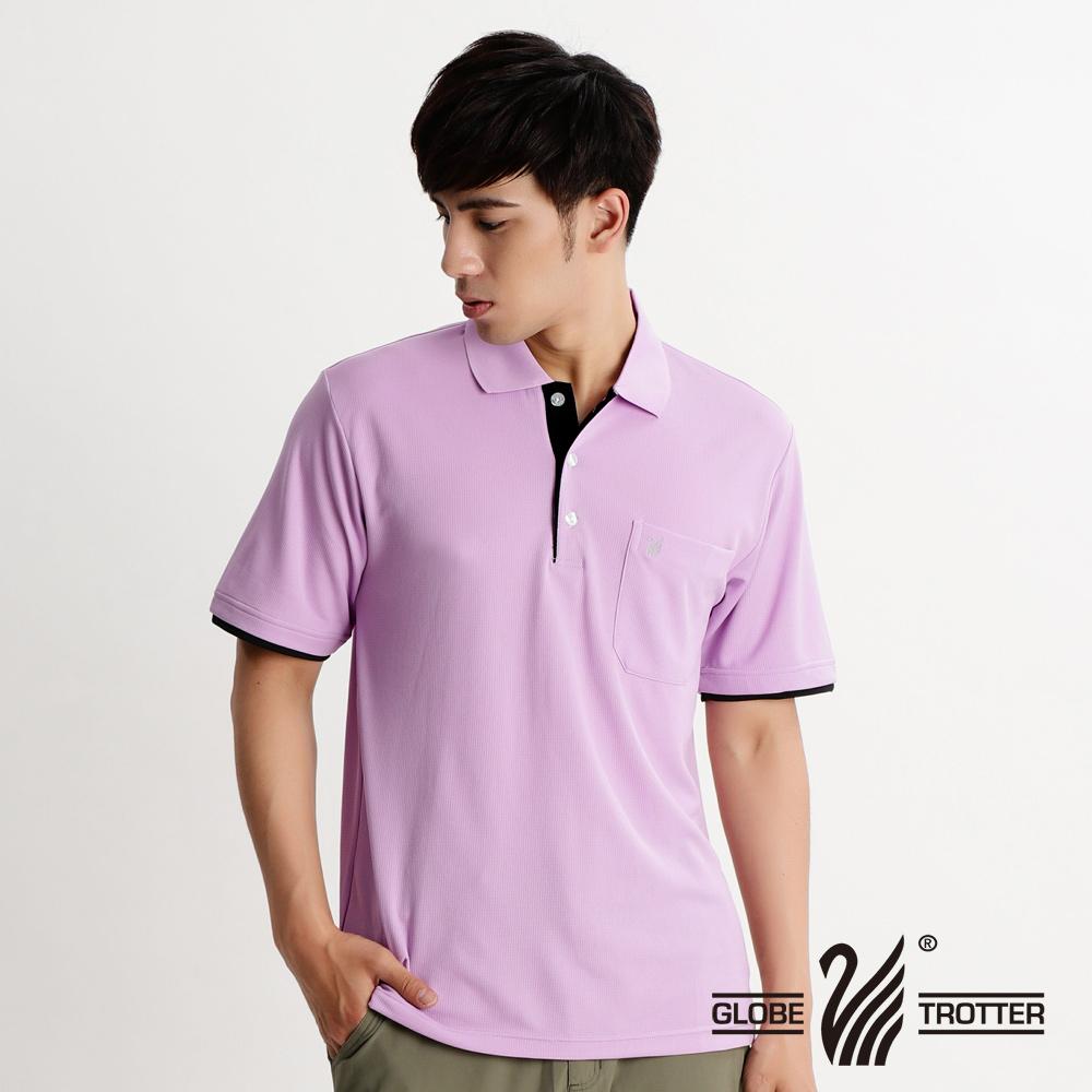 【遊遍天下】MIT台灣製男款吸濕排汗抗UV機能POLO衫S153淺紫