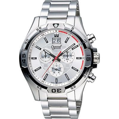 Ogival 愛其華 都會大日期視窗計時腕錶-銀/45mm
