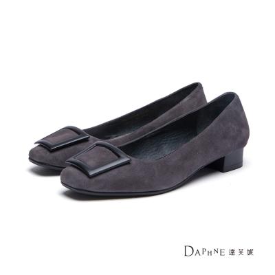達芙妮DAPHNE-高跟鞋-麂皮方釦方頭低跟鞋-灰8H