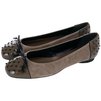 TOD'S Dew 雙材質拼接豆豆綴飾芭蕾舞鞋(可可棕)