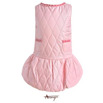 Anny可愛立體荷葉領蓬蓬刷毛內裡洋裝*5652粉