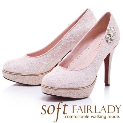 Fair Lady  Soft芯太軟 浪漫花嫁蕾絲水鑽跟鞋 粉