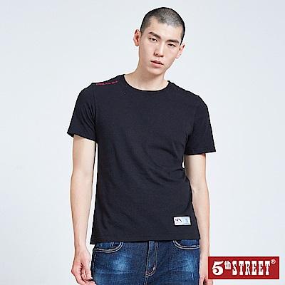 5th STREET 植絨LOGO圓領短袖T恤-男-黑色