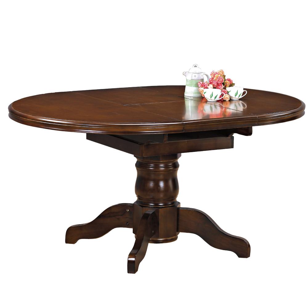 品家居 柔閒5尺柚木色實木橢圓折桌