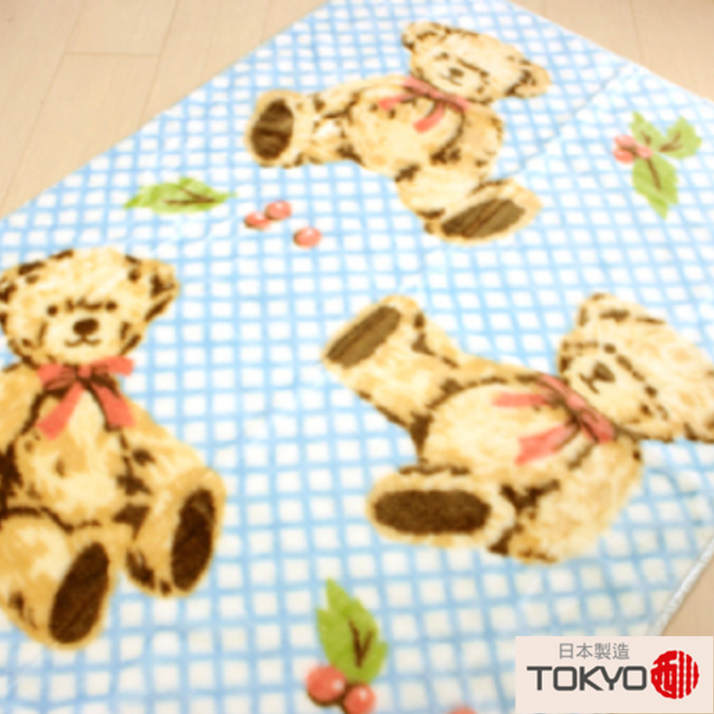 TOKYO東京西川 三隻小熊中童發熱毯(100X140)藍