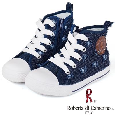 Roberta諾貝達 牛仔帆布高筒休閒童鞋-深藍(中大童)