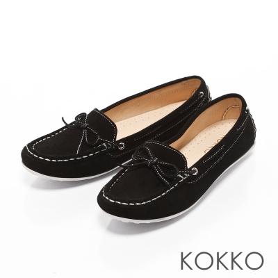 KOKKO - 極致手感蝴蝶結羊麂皮莫卡辛便鞋-經典黑