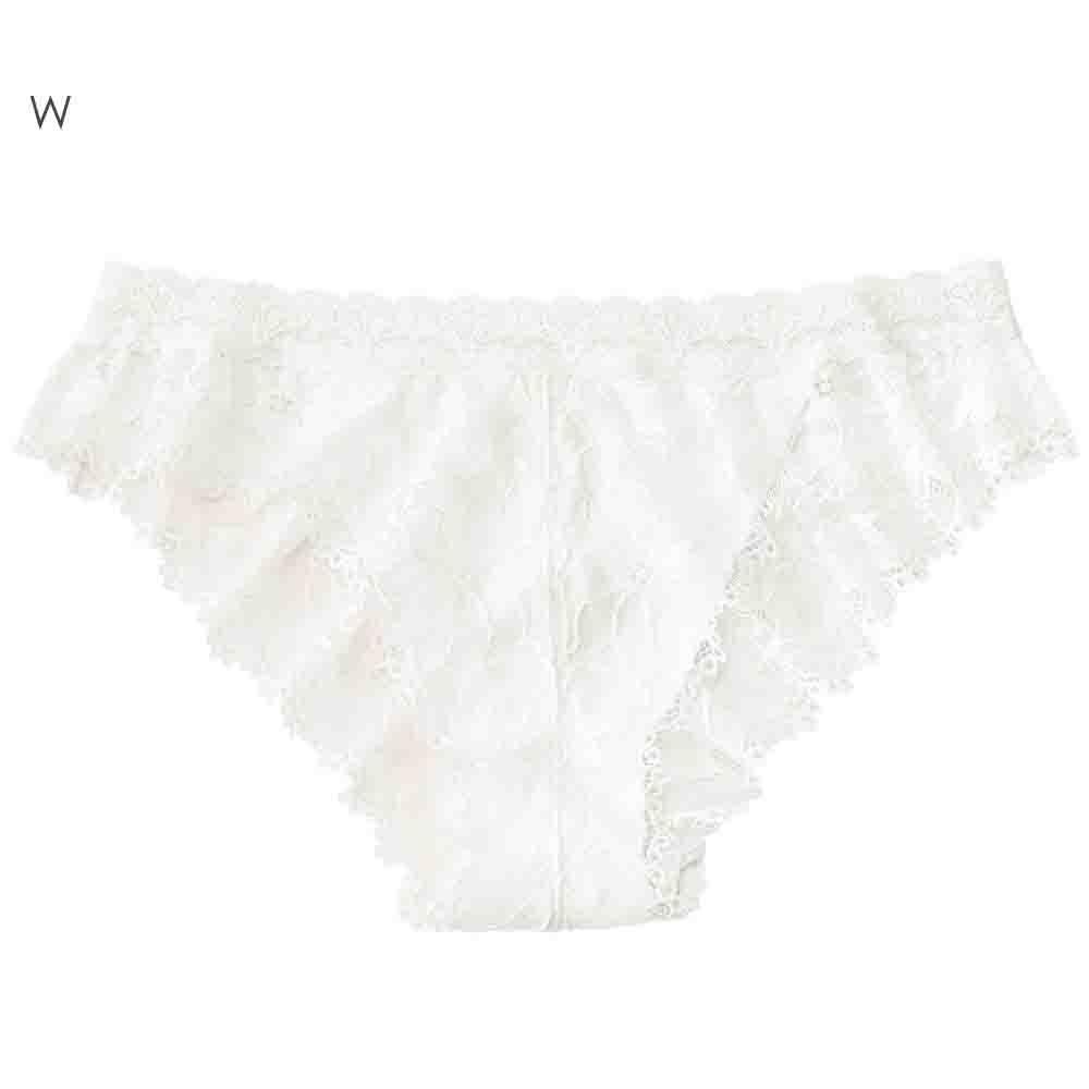aimerfeel 性感全蕾絲緞帶半臀內褲-白色