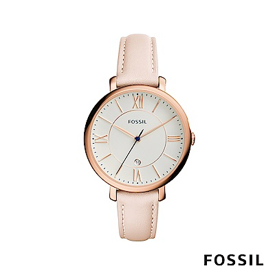 FOSSIL JACQUELINE 真皮手錶-櫻花粉 約36mm ES3988