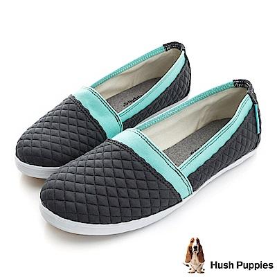 Hush Puppies 菱格鋪棉咖啡紗TiTi懶人鞋-深灰
